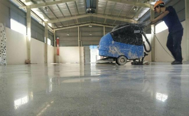 Hardening, polishing the floor